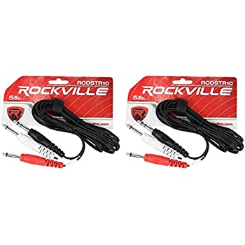 8 Rockville 10/' 1//4/'/' TRS to 1//4/'/' TRS Cable 100/% Copper 4 Colors x 2 of Each