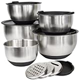 [Deluxe Set] 5 Premium Grade Stainless Steel Mixing Bowl Set with Lids and Non Skid Bottoms Stainless Steel Mixing Bowls with Pour Spout, Measurement Marks, and 3 Grater Attachments