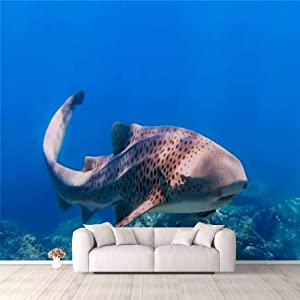 3D Wallpaper Rare Close up Encounter with Endangered Species Zebra Leopard Shark Self Adhesive Bedroom Living Room Dormitory Decor Wall Mural Stick and Peel Background Wall Ceiling Wardrobe Sticker