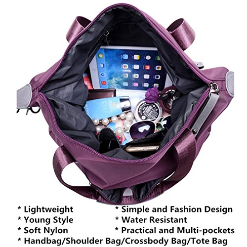 Nylon Water YouNuo Laptop Crossbody Red Handle Bags Top Tote Women's Resistant Handbag Shoulder Bag I6wqp8U6x