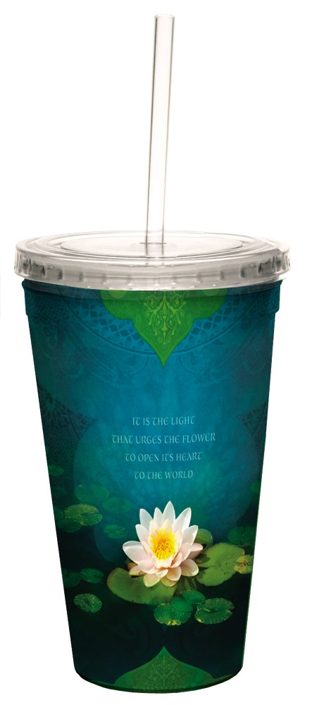 Tree-Free Greetings 35555 Angi and Silas Bouquet of Light Double-Walled Cool Cup with Reusable Straw 16-Ounce