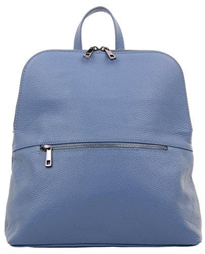 Primo Sacchi® italienischer, texturierter Leder-Schultertasche Rucksack Rucksack. Inklusive Markenschutz-Aufbewahrungstasche Mittel Blau