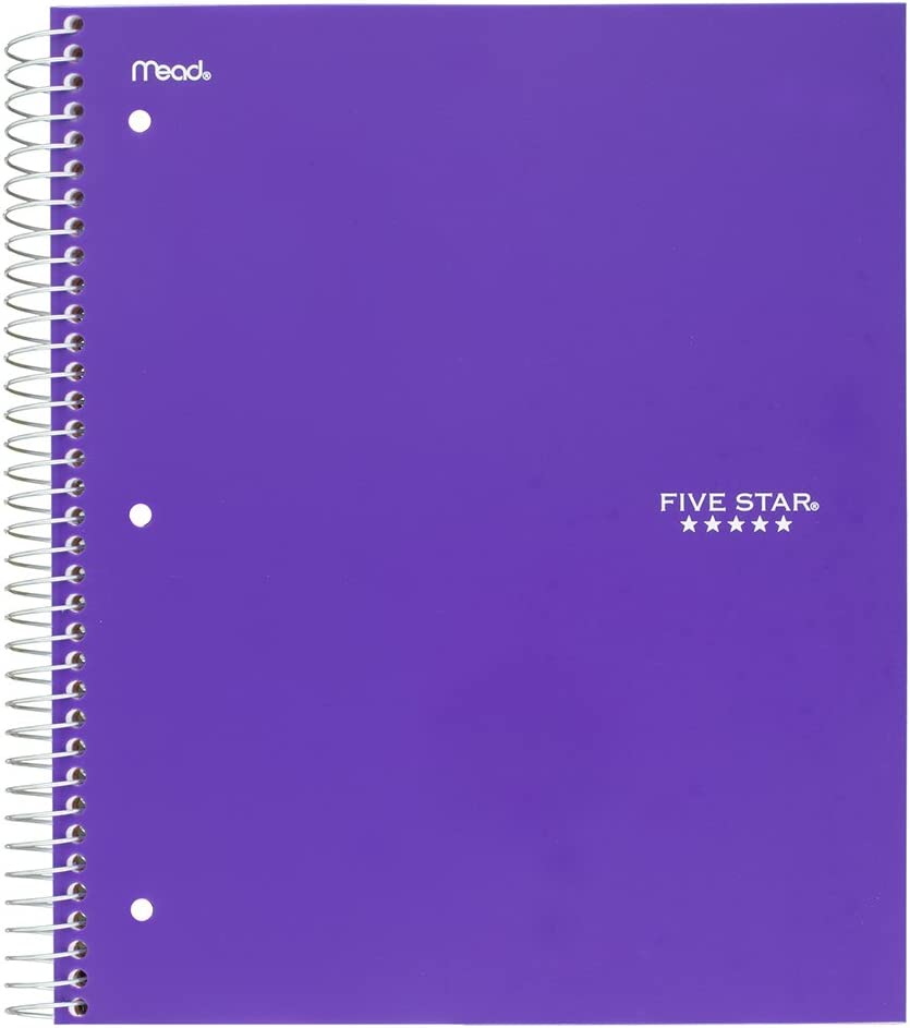 Amazon Com Five Star Spiral Notebook 1 Subject College Ruled Paper 100 Sheets 11 X 8 1 2 School Wired Purple 38744 Office Products