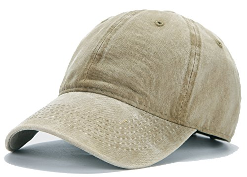 Edoneery Adjustable Washed Twill Low Profile Cotton Baseball Cap Hat(Khaki)