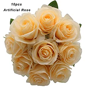 Kislohum Artificial Flowers White Roses 10pcs Real Looking Fake Silk Roses for Wedding Bouquets Floral Leaf Centerpieces Party Home Decor Baby Shower,Pink in Center 104