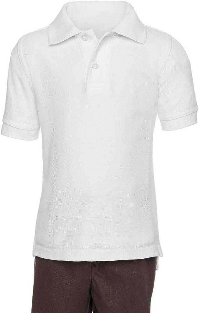 Pique Chambray Collar Comfortable Quality White 8 aka Boys Wrinkle Free Polo Shirt Short Sleeve