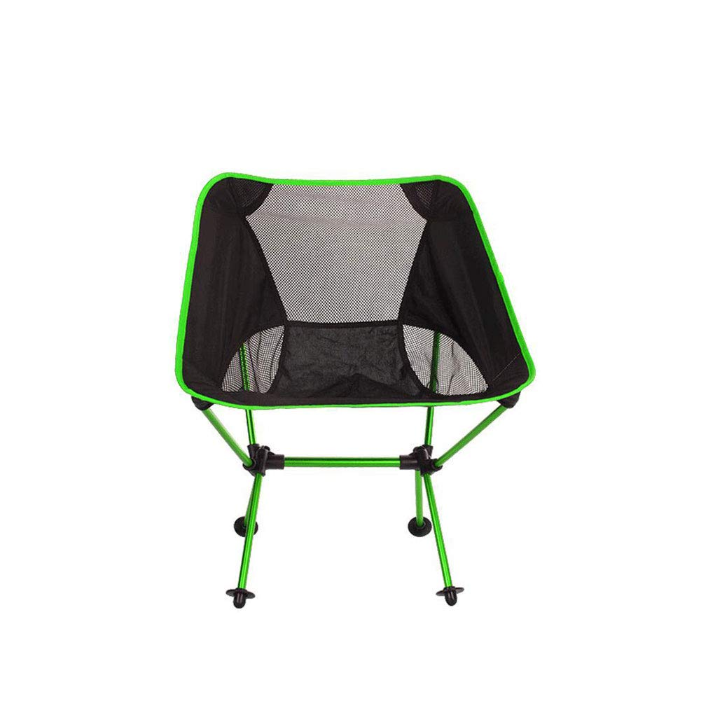 ZJQ Outdoor Camping Faltstuhl Portable Moon Chair Ultra Light Aluminum Fishing Chair Leisure Sketch Chair,Grün
