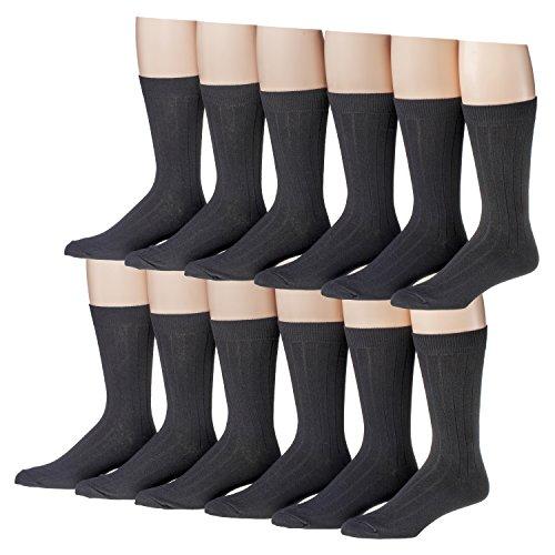 Men's 12 Pair Black Soft Cotton Blend Size 8-12 Dress Socks (Classic Rib) 1300-12 (Classic Rib Sock Dress)