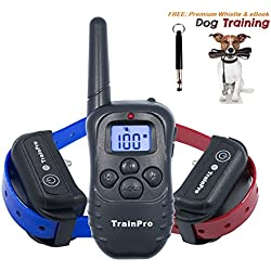 TrainPro PRO998D Dual Electronic Dog Training Shock Collar 330 Yard Rechargeable Waterproof e-Collar System with Tone | Shock | Vibration Plus BONUS eBook and Dog Whistle