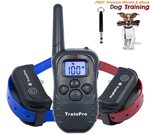 TrainPro PRO998D Dual Electronic Dog Training Shock Collar 330 Yard Rechargeable Waterproof e-Collar System with Tone | Shock | Vibration Plus BONUS eBook and Dog Whistle (Halloween Safety Tips From Police)