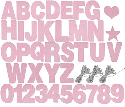 Custom Banner Kit - 125-Piece Customizable Banner Letters, Numbers, and Symbols, Pink Glitter DIY Letter Banner, Make Your Own Banner for Birthdays and Weddings, Party Decoration -