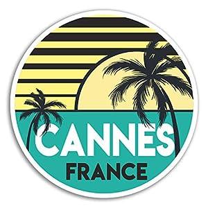 2 x 10cm Cannes France Vinyl Stickers - Fun Travel Sticker Laptop Luggage #18035 (10cm Wide)