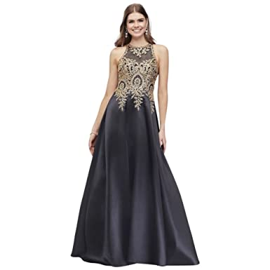 Metallic Embroidered High-Neck Mikado Prom Dress Style 664X, Navy, 4