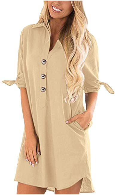 iGENJUN Womens Long Sleeve Button Down Tunic Dresses with Pockets