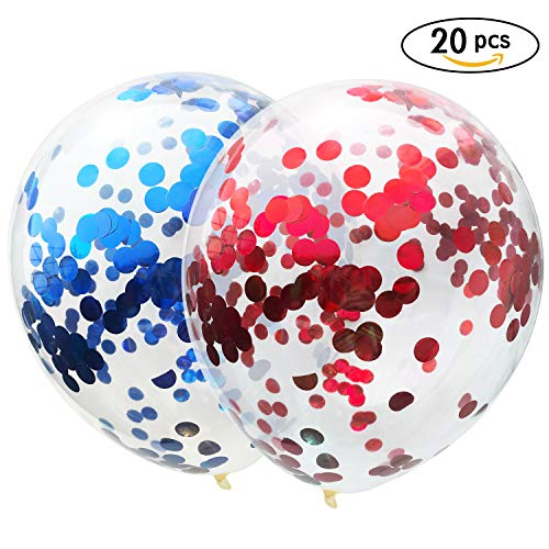 AMAWILL 20 Pcs Red Blue Confetti Balloons, 12 Inches Party Balloons with Red Blue Paper Confetti Dots for Party Wedding -
