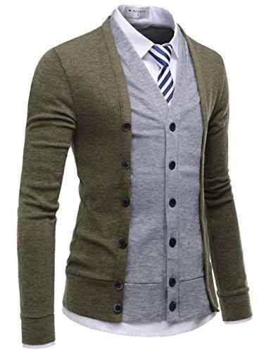 NEARKIN (NKNKCD139 Slim Cut Look 2 Tone Layered Button Cardigan Sweater for Men Khaki US M(Tag Size M) ()