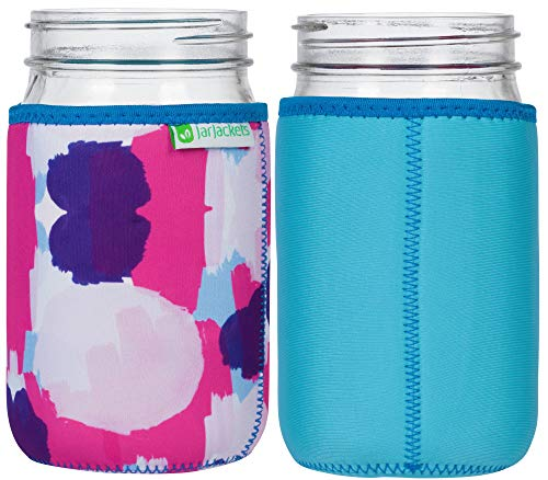 JarJackets Neoprene Mason Jar Protector Sleeve - Fits 32oz (1 quart) Jars (1, Aquamarine) (Jacket Insulated Mission)