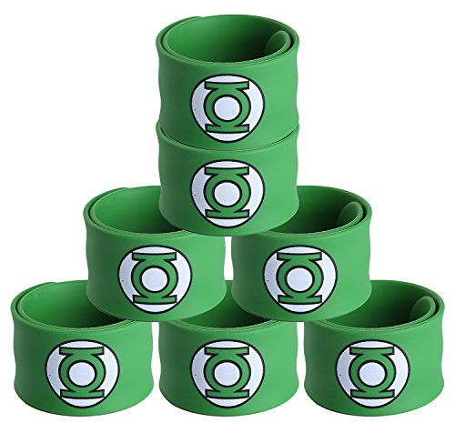 Justice League Superhero Slap Bracelet for Kids Boys & Girls Birthday Party Supplies Favors (7 Pack Green -