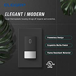 ELEGRP Occupancy Sensor Light Switch, PIR Infrared Motion Activated Wall Switch, No Neutral Wire Required, Single Pole for CFL/LED/Incandescent Bulb, Wall Plate Included, UL Listed (1 Pack, Black)