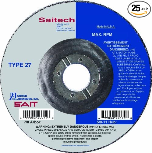 25-Pack United Abrasives//SAIT United Abrasives-SAIT 20047 Type 27 5-Inch by 1//4-Inch by 7//8-Inch Atacker Depressed Center Wheel