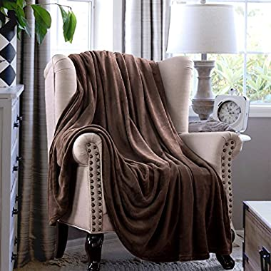 Flannel Throw Blankets, Bed Blanket by Bedsure-100% Plush Microfiber(Warm/Cozy/Fluffy), Lightweight and Easy Care, Couch Blanket, Twin Full/Queen King(60 x80  Brown)