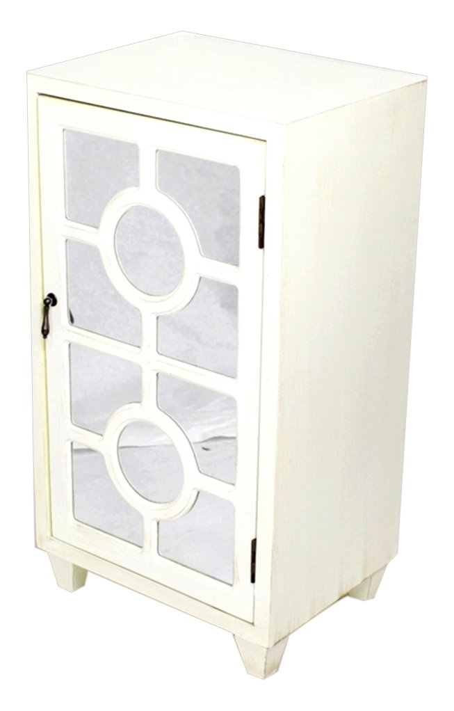 Heather Ann Creations Standing Single Drawer Distressed Cabinet with Circle Cross Mirror Window Inserts, 30'' x 18'', Antique White