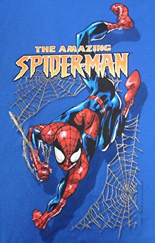 Amazing Spider-man Swinging Blue Youth Medium Long Sleeve Shirt Mad Engine (The Amazing Spider Man Long Sleeve Shirt)