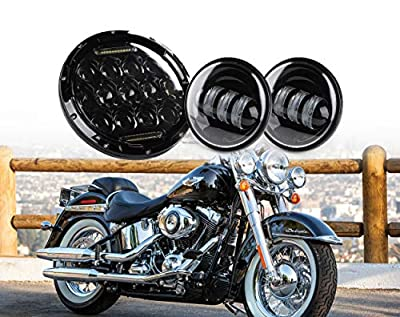 """Xprite 7"""" Inch Round 75W 4500 Lumens Hi/Lo Beam 4D Lens Cree LED Headlights & 4.5"""" Black Fog Light Passing White Lamps For Harley Davidson Motorcycle"""