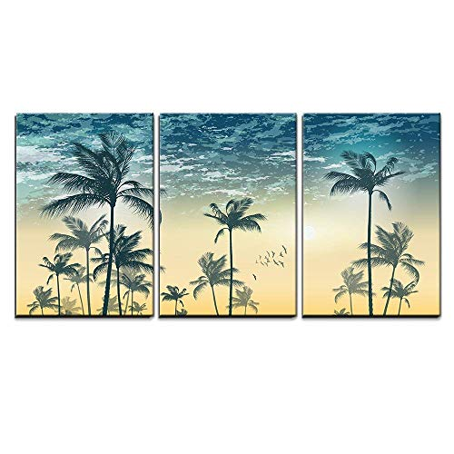 (wall26 - 3 Piece Canvas Wall Art - Vector - Tropical Palm Tree Scene at Sunset or Sunrise Highly Detailed and Editable - Modern Home Decor Stretched and Framed Ready)