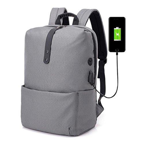 Sameno Fashion Multi-functional Anti-Theft Backpack USB High-capacity Laptop School Bag (Gray) ()