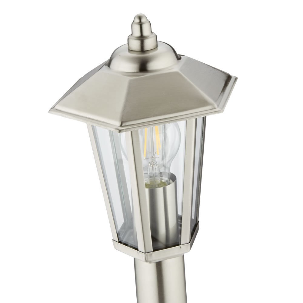 Biard Cannes 600mm Stainless Steel IP44 Traditional Outdoor Bollard Lantern Light with Free E27 LED Filament Bulb in Warm White Post Lighting Garden Pathway Commercial Driveway