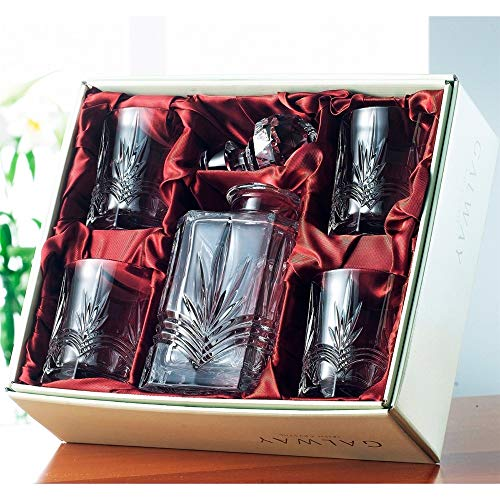 Irish Galway Crystal Whiskey Decanter & 4 Glasses Set from the Kells Range