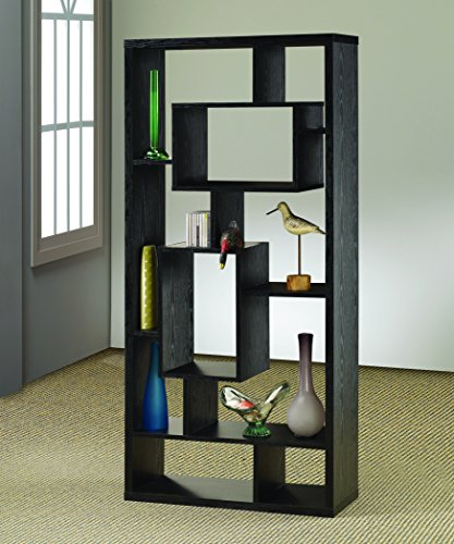 Asymmetrical Cube 10-Shelf Bookcase Black Oak