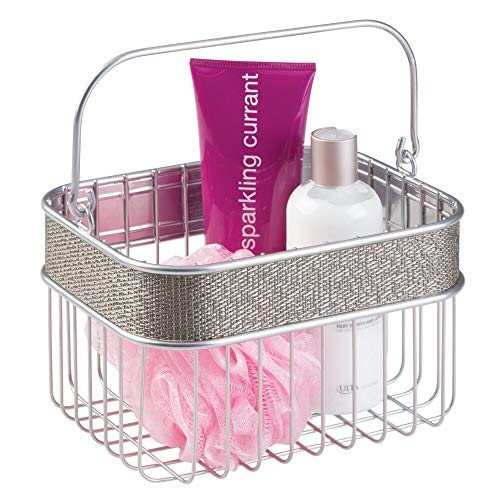 mDesign Metal Woven Storage Basket Bin with Handle for Organizing Hand Soaps, Body Wash, Shampoos, Lotion, Conditioners, Hand Towels, Hair Accessories, Body Spray, Mouthwash - Small - Metallic