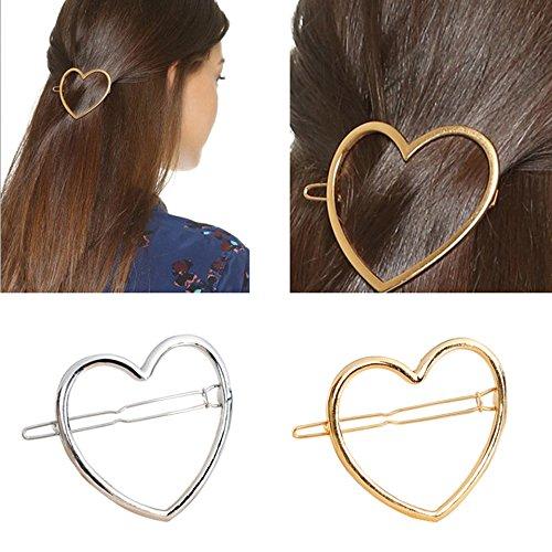 2 Pcs Hollow Smooth Love Heart Hair Pins Clip - Fashion Cute All-Match Hairpin Side Clamp Liu Hai Horse Tail Clip for Women Lady