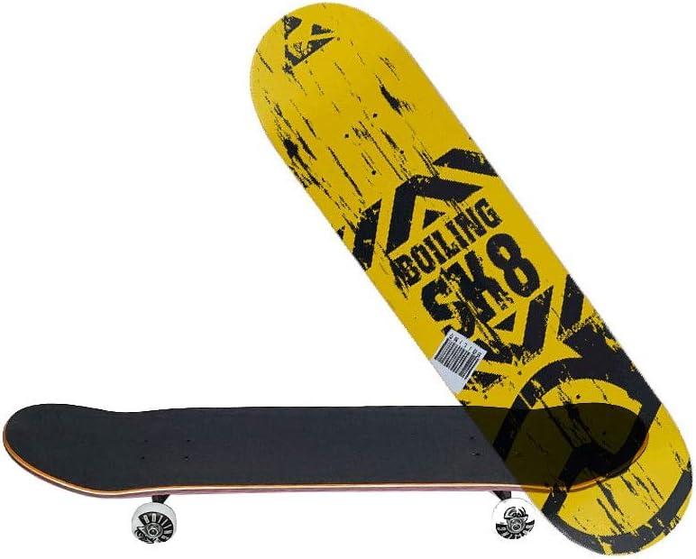 HXGL-スケートボード エントリープロフェッショナルスケートボードボーイズアンドガールズユースアダルト初心者プロフェッショナルスケートボードダブルロッカー-シンプルイエロー ブラック