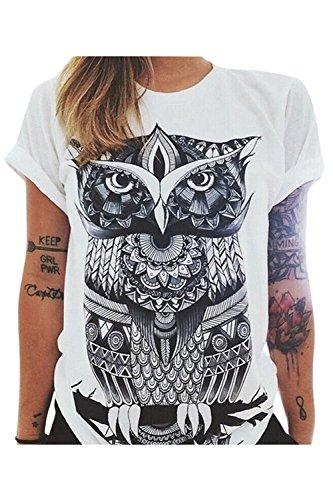 Owl Slim T-shirt (Haircloud Women's Loose Short Sleeve Graphic Print Tee Shirt Tops, Owl, White Medium)