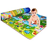 Home Crust Waterproof, Anti Skid, Double Sided Baby Crawling Play Mat, 6x4ft (Green, 132987)