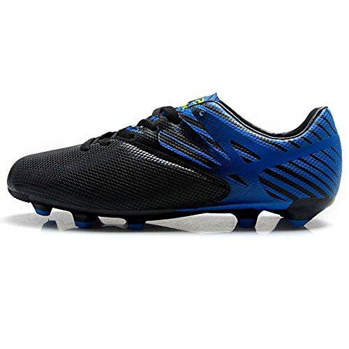 Tiebao Chicos Hombres Antideslizante Espiga Guay Tierra Firme Zapatillas de Fútbol Profesión Entrenamiento De Fútbol Negro&Azul
