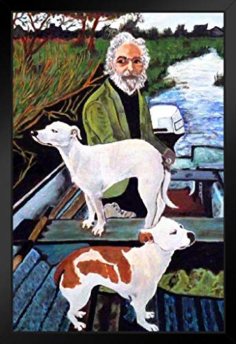 Man in Boat with Dogs Movie Painting Framed Poster 14x20 inch ()