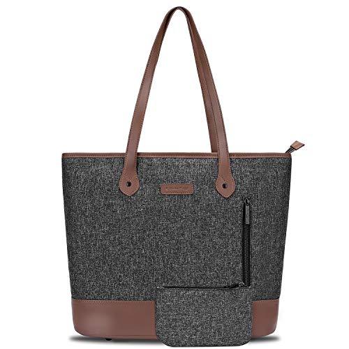 UtoteBag Women 15.6 Inch Laptop Tote Bag Notebook Shoulder Bag Lightweight Multi-Pocket Nylon Business Work Office Briefcase for Computer/MacBook/Ultrabook,Black
