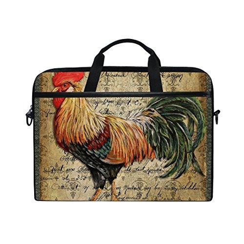 Laptop Bag for Men Women Canvas Shoulder Messenger Bag with Rooster Vintage Background Fits 15-15.4 Inch