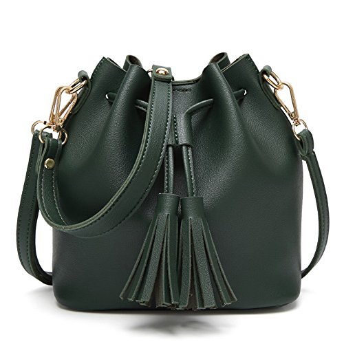 Odomolor Women's Tassels Fashion Pu Shoulder Bags Casual Tote Bags Green JGnX8Ixc