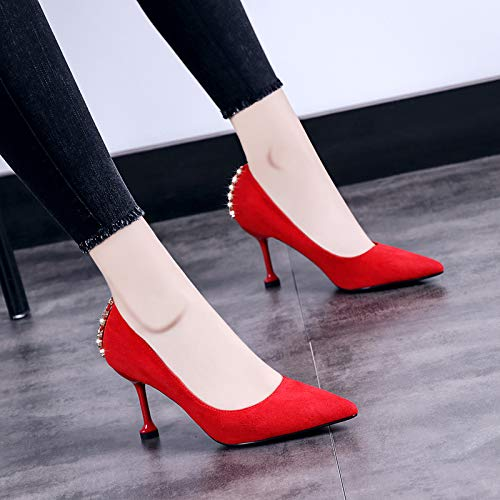 Red Women'S Elegant Yukun Rhinestones Autumn Heeled Decorated High Tacchi Pointed With Shoes Heeled High alti Fashion Shoes Cat xq8rqTw01