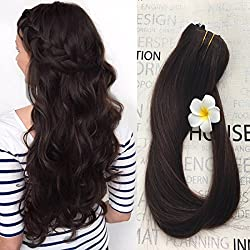 """Clip in Hair Extensions Real Human Hair Extensions Dark Brown 20"""" 7 PCS Full Head Silky Straight 70g Remy Hair (20"""", #2)"""