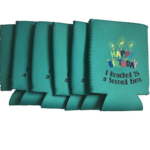 50th Birthday, Neoprene Cooler Sleeve, For Cans, Beer, Soft Drink, Collapsible, set of (50th Birthday Beer)