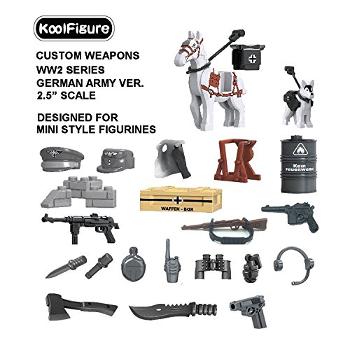 "Koolfigure™ Custom WW2 Weapons Set Designed for Minifigures Toys, 2.5"" Scale Helmet, Machine Guns for Military Soldier Figurines, Building Bricks Blocks Accessories, German Army Ver. 01"
