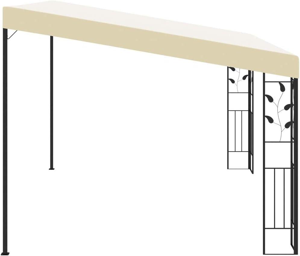 vidaXL Cenador con Montaje en la Pared Toldo Parasol Marquesina Pabell/ón Carpa Gazebo de Jard/ín Aire Libre Terraza Exterior Fiestas Eventos Crema 4x3x2,5 m