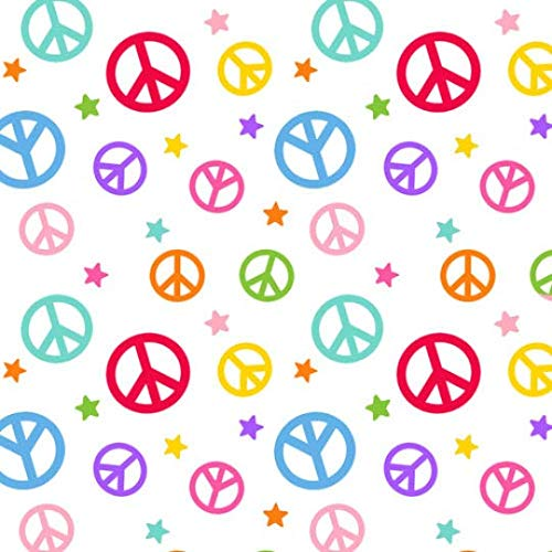 Emelia's Dream Rainbow Peace Signs Cotton Fabric from