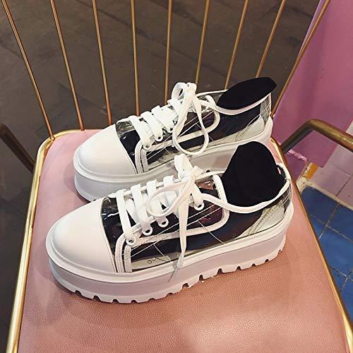 ZHZNVX Zapatos de Mujer PU (Poliuretano) Spring & Summer Comfort Sneakers Zapatos para Caminar Creepers Round Toe Black/Yellow / Blue Black